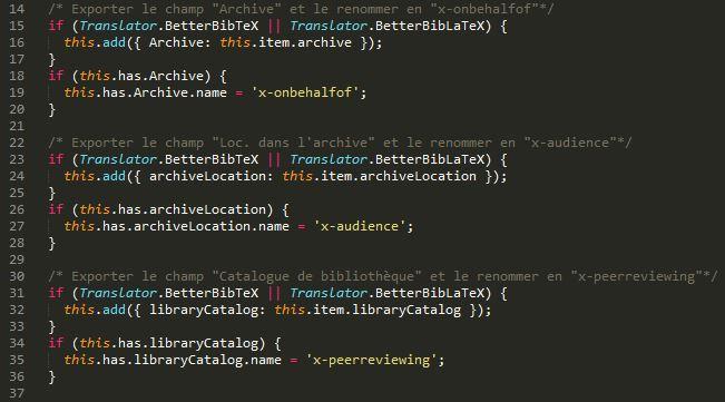 Extrait de notre post-script, rédigé en JavaScript